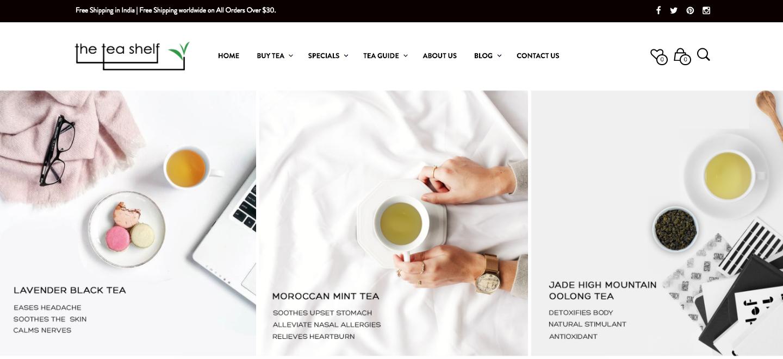 online tea store promotion